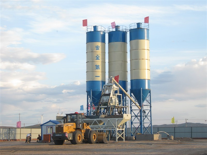 HZS25 Stable Performance Hopper Batching Plant With Blue