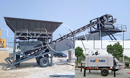 mobile batching plant with concrete pump 1